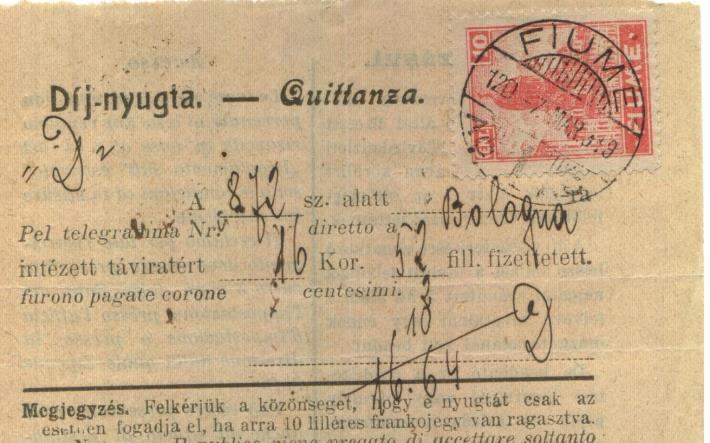 7.3.1919 Quietanza di telegramma 10 cent.